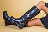 Сапоги-трубы женские кожаные черные зимние, без молнии, фото 6