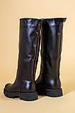 Сапоги-трубы женские кожаные черные зимние, без молнии, фото 10