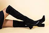 Ботфорты женские замшевые черные на каблуке, зимние, фото 4