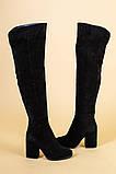 Ботфорты женские замшевые черные на каблуке, зимние, фото 8