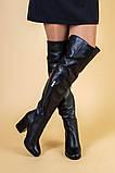 Ботфорты женские кожаные черные на каблуке, зимние, фото 2