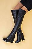 Ботфорты женские кожаные черные на каблуке, зимние, фото 4