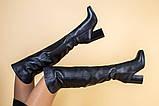 Ботфорты женские кожаные черные на каблуке, зимние, фото 6