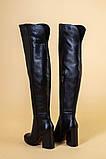 Ботфорты женские кожаные черные на каблуке, зимние, фото 8