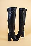 Ботфорты женские кожаные черные на каблуке, зимние, фото 9