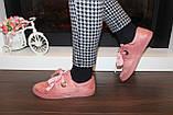 Слипоны женские на шнурках пудровые Т1211, фото 6
