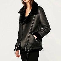 Куртка дубленка Авиатор женская зимняя. Удлиненная куртка косуха женская, р. M (черная)