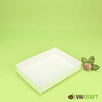 Коробка 200*150*35 для пряніка з ПВХ кришкою, біла