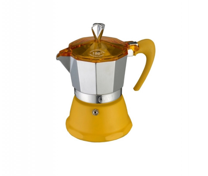 Гейзерная кофеварка желтая на 6 чашек FANTASIA GAT (106006 жовта)