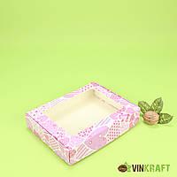 """Коробка 192*148*40 для пряника с окном """"Розовые сердца"""""""