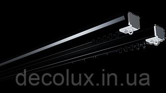 Карниз потолочный алюминиевый усиленный  двухрядный, DS-2 черный