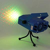 Мини лазерный проектор для дома Mini Laser Stage Lighting 6 в 1 с треногой Новогодняя светомузыка Стробоскоп