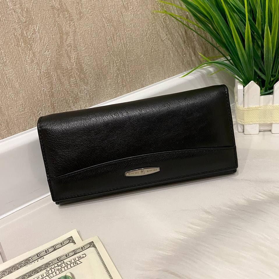 Женский кожаный кошелек на магнитах Женский кошелек из натуральной кожи Черный женский кожаный кошелек