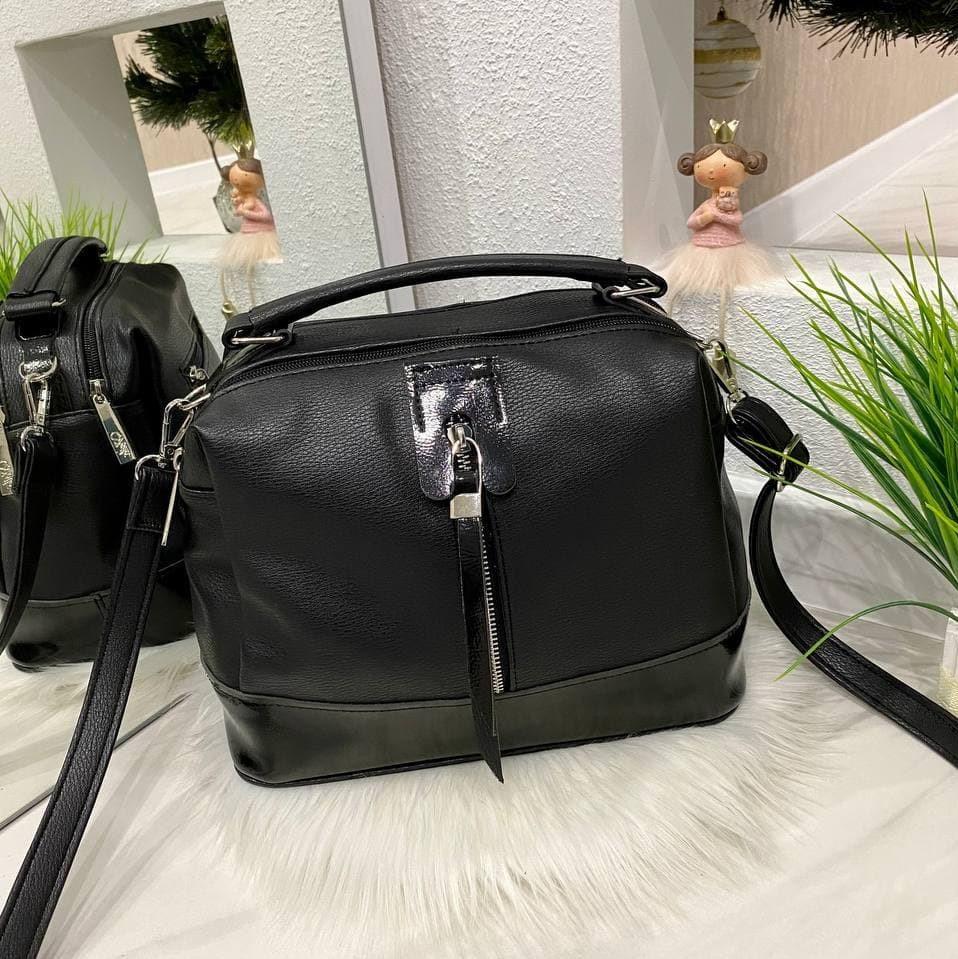 Женская сумка на 2 отделения Женская сумка Сумка для девушки Модная женская сумка черная