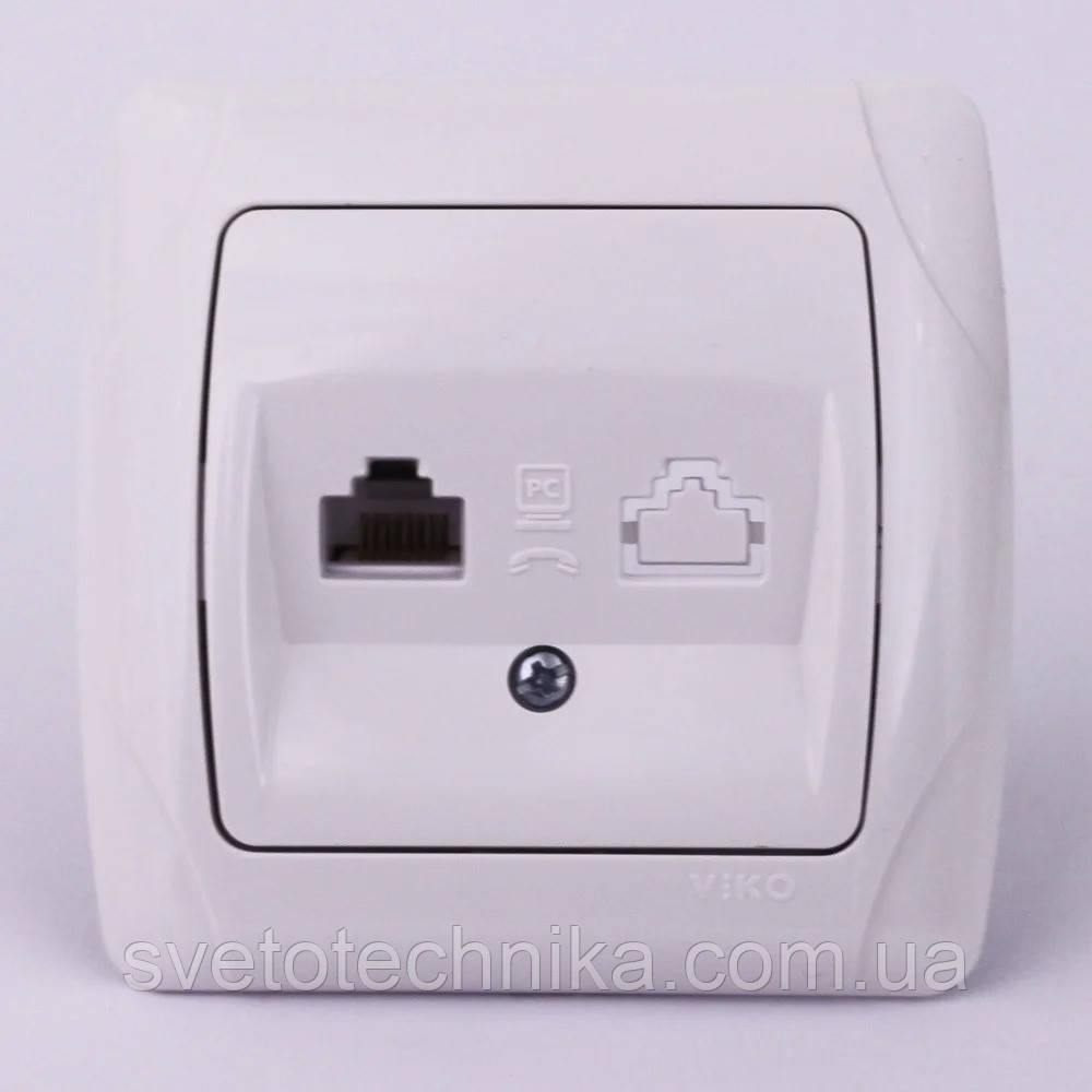 Розетка компьютерная VI-KO Carmen (интернет) скрытой установки (белая)