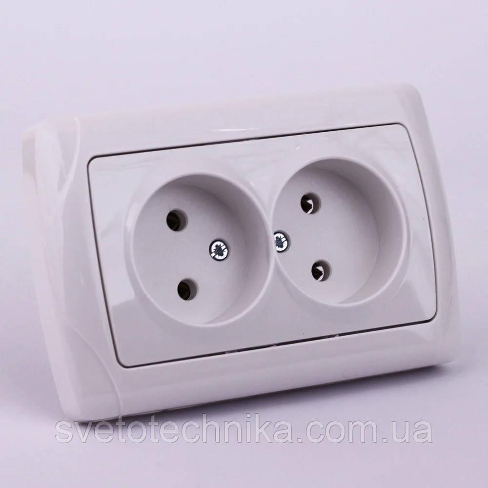 Розетка электрическая VI-KO Carmen скрытой установки двойная без заземления (белая)