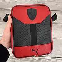 Мужская сумка через плечо красная Puma Ferrari,спортивная барсетка мессенджер пума с плечевым ремнем