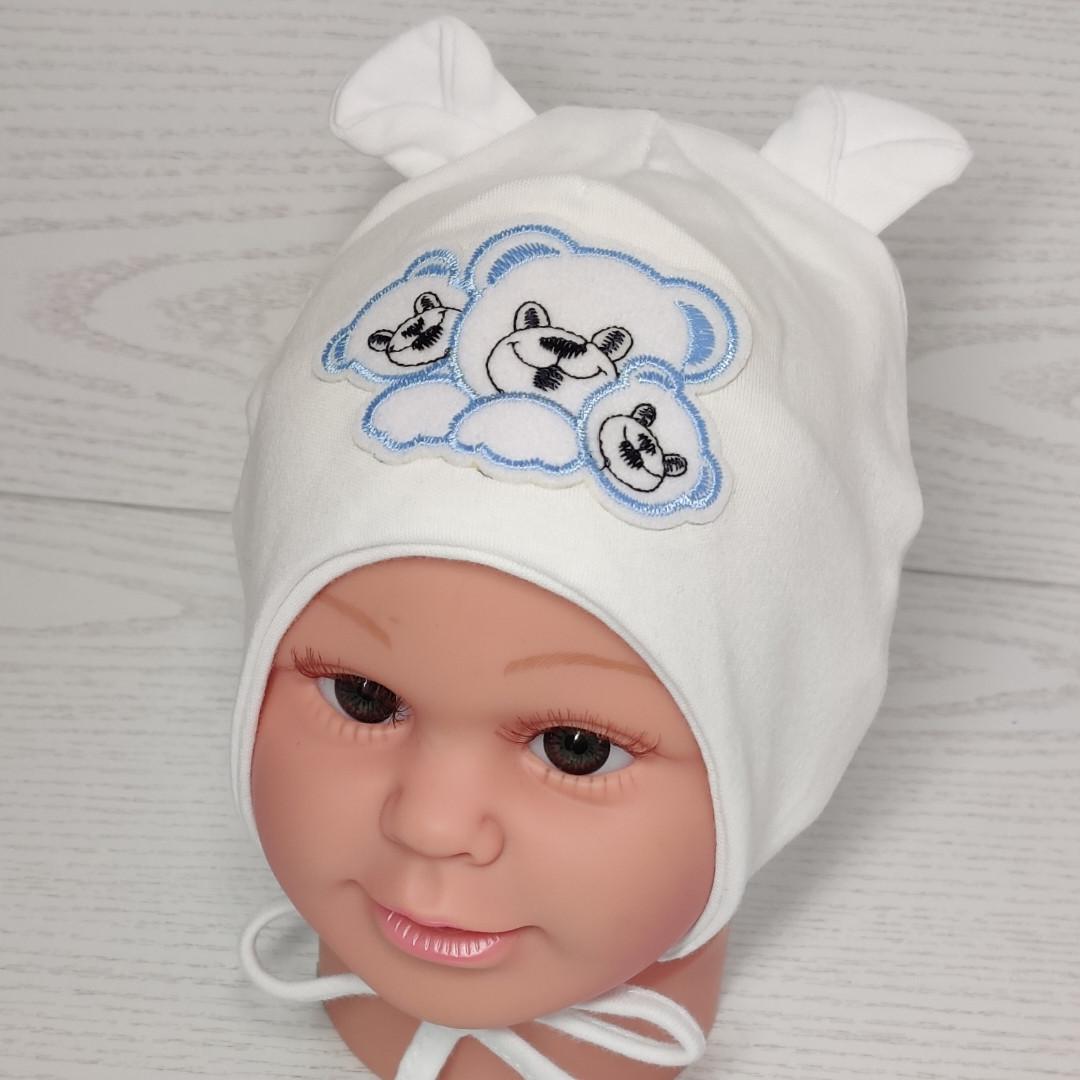 Трикотажная шапка на завязках с мишками Размер 36-38 см на новорожденных
