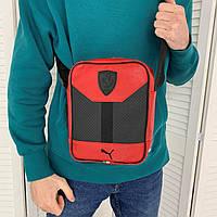Мужская сумка через плечо Puma Ferrari, Красная спортивная барсетка Пума Феррари, мессенджер брендовый
