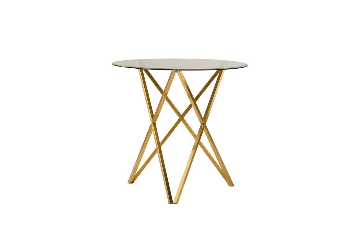Стеклянный стол Т-313 прозрачный D80 от Vetro Mebel, ноги золото