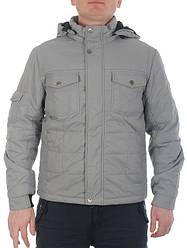Куртка демисезонная серая мужская на тонком синтепоне BLACK VINYL скидки