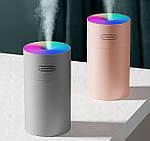 Зволожувач повітря міні Adna Humidifier DQ107 дифузор компактний,мийка повітря з підсвічуванням веселкою. Сірий, фото 5