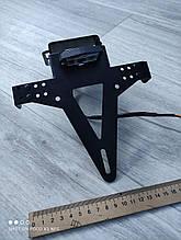Кронштейн крепления номерного знака регулируемый универсальный с диодной подсветкой черный (вар. 1)