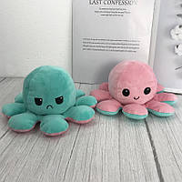 Милая мягкая игрушка осьминог-перевертыш, двухсторонний осьминог, плюшевая игрушка розово-мятного цвета