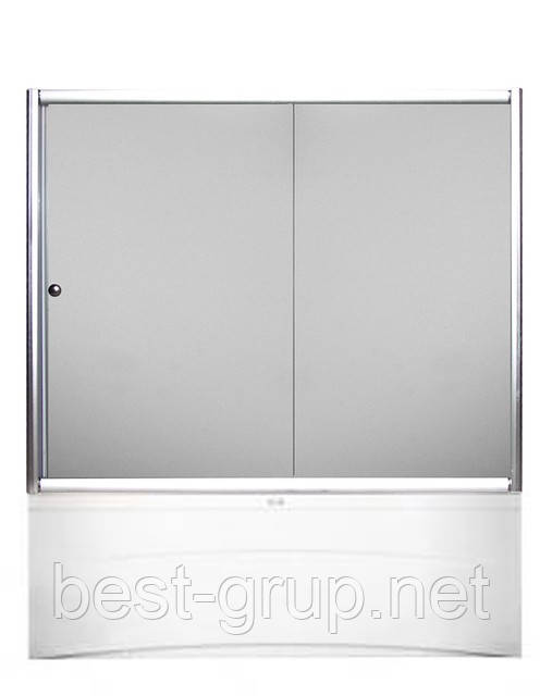 F170W-2 (170х140см). Штора для ванной KO&PO. 2-секции. Профиль белый. Стекло матовое