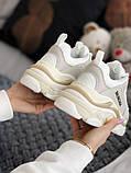 Жіночі кросівки Balenciaga Triple S в стилі Баленсіага Тріпл З БІЛІ БАГАТОШАРОВА ПІДОШВА (Репліка ААА+), фото 2