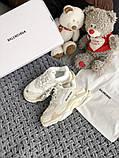 Жіночі кросівки Balenciaga Triple S в стилі Баленсіага Тріпл З БІЛІ БАГАТОШАРОВА ПІДОШВА (Репліка ААА+), фото 4