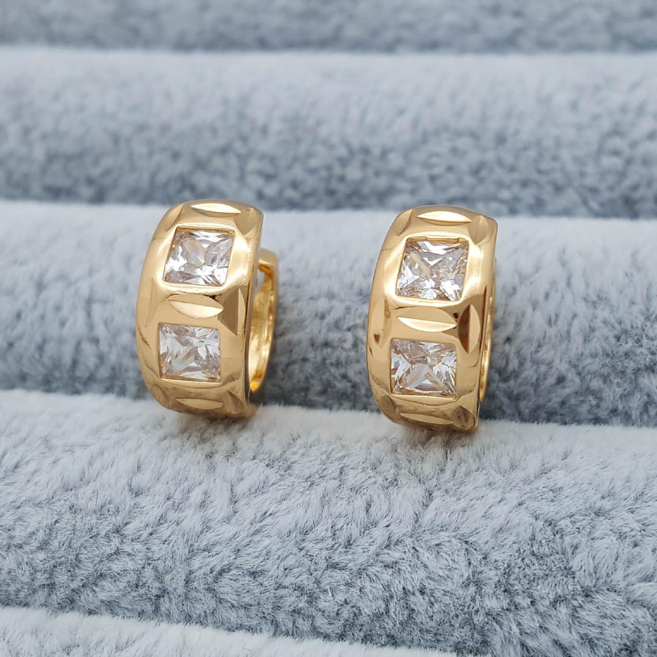 Сережки, Кільця з різбленням та кубічним цирконієм, позолота Xuping, 18К