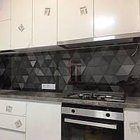 Стекло для кухни вместо кафеля - Треугольники