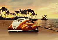 Фотообои 3D 368x254 см Машина на пляже (057P8)