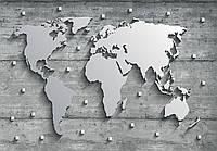 Фотообои 3D 254x184 см Карта мира из стали (10420P4)