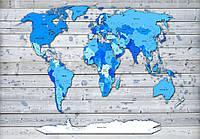 Фотообои 3D 254x184 см Карта мира из досок 10868P4