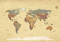 Фотообои 254х184 см Карта мира с государствами 10973P4