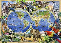 Фотообои 3D 254x184 см Карта мира с животными (12842P4)