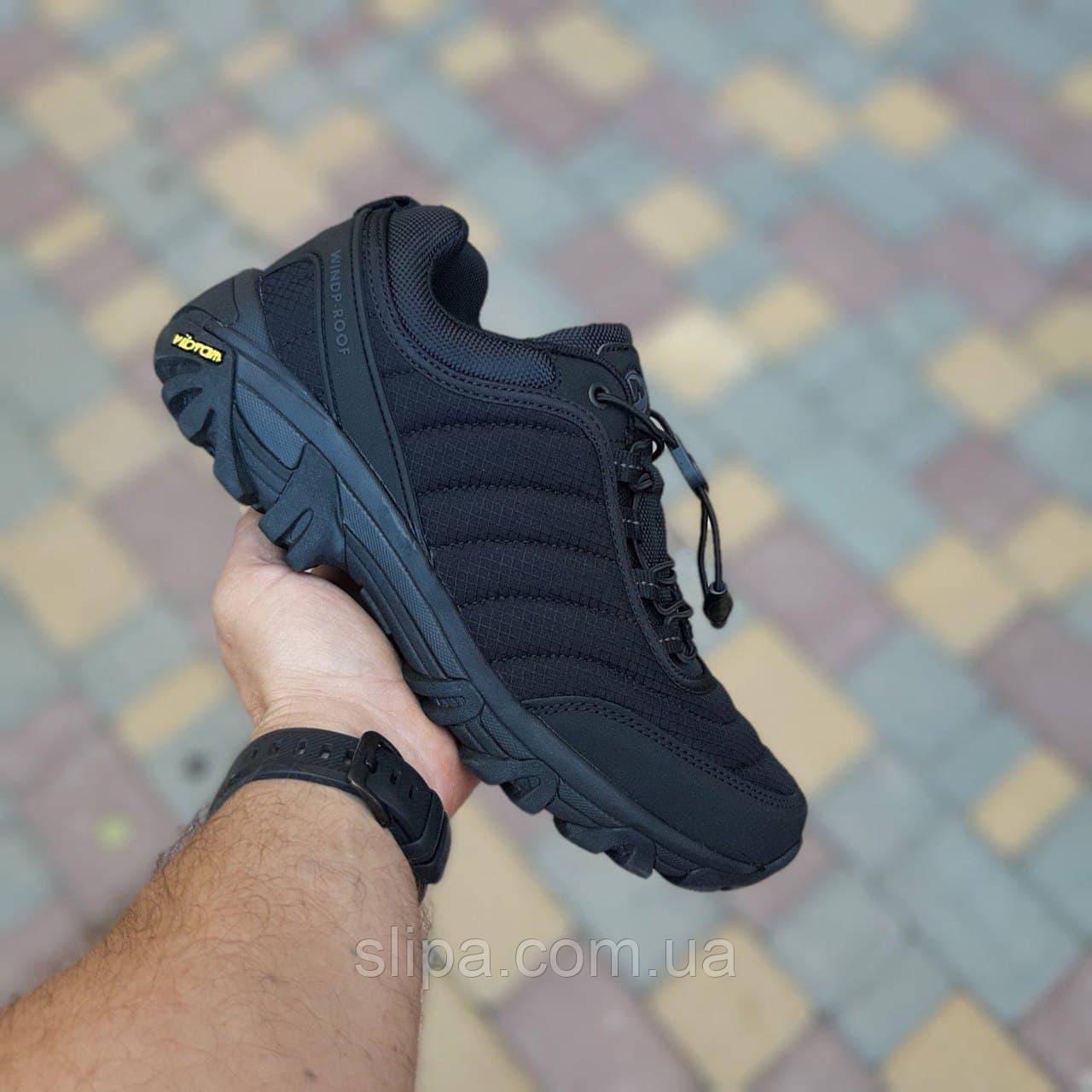 Мужские зимние кроссовки Merrell Vibram чёрные ( термо, без меха )