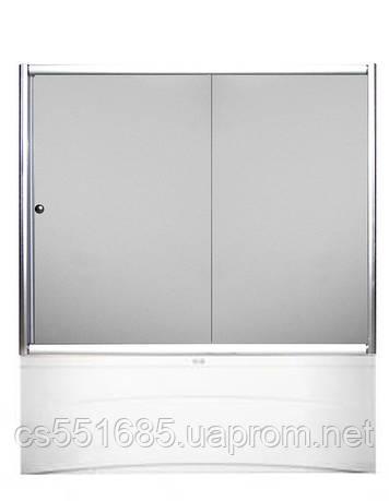 170W-2 (170х140см). Штора для ванной KO&PO. 2-секции. Профиль белый. Стекло прозрачное