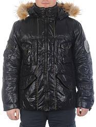 Стильная черная мужская куртка с натуральным мехом енота TIGER FORCE распродажа