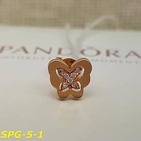 Серьги гвоздики пусеты бабочки золото 585 с фианитами в одно ухо
