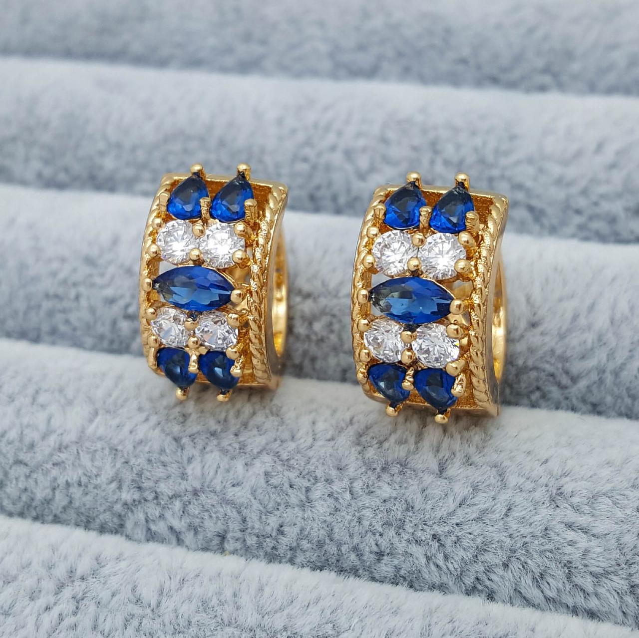 Сережки позолота Xuping, Класика з біло-синім цирконієм, 18К
