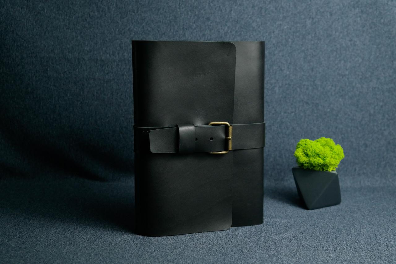 """Обкладинка для блокнот А5 """"Модель № 3"""" Шкіра Італійський краст колір Чорний"""