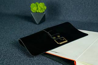 """Обкладинка для блокнот А5 """"Модель № 3"""" Шкіра Італійський краст колір Чорний, фото 2"""