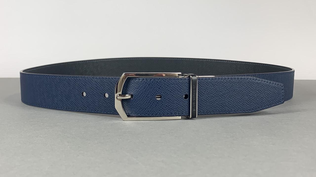 Мужской темно синий ремень Louis Vuitton (Луи Витон) арт. 61-11