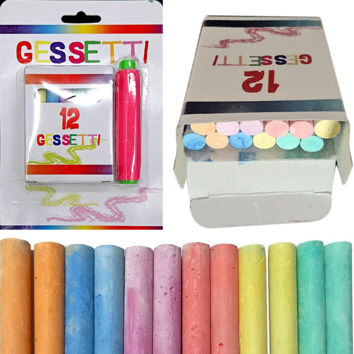 Мел 3932 цветной, 12шт. 6 цветов, длина 7,5 см ширина 0,8 см - 1 см + держатель