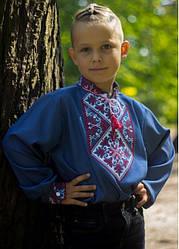Детская вышиванка Говерла (м)длинный рукав, р,110,116,122,128,134,140,146,152 джинс голубой, черв вишив