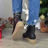 Ботинки женские демисезонные кожаные на невысокой танкетке, на шнурках, фото 3