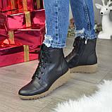 Ботинки женские демисезонные кожаные на невысокой танкетке, на шнурках, фото 4